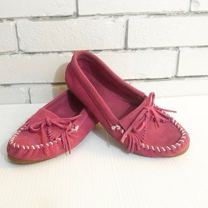 MINNETONKA Pink Suede Leather Moccasins Size 9